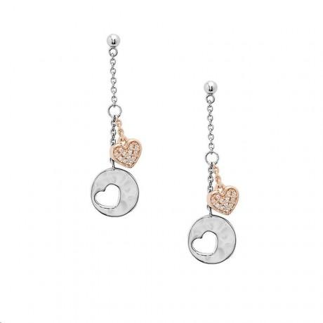 FOSSIL Boucles d'oreilles Rosy Hearts Argent bicolore JFS00493998