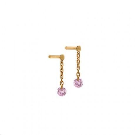 LA BRUNE & LA BLONDE Mini pendants d'oreilles Confetti Saphirs roses EA0059PGSA