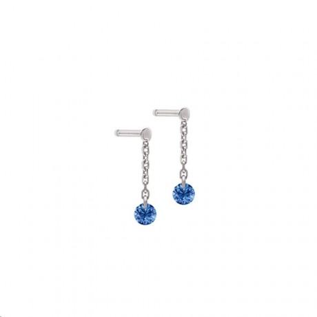 LA BRUNE & LA BLONDE Mini pendants d'oreilles Confetti Or Blanc Saphirs EA0057WGSA