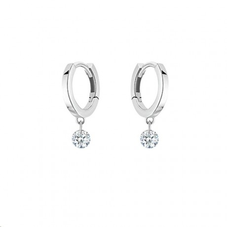 LA BRUNE & LA BLONDE Mini Créoles 360° Confetti Or Blanc Diamants 0,14 ct EA0033WGDI