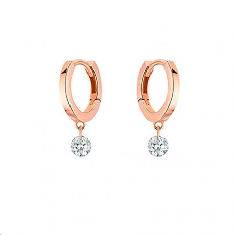 LA BRUNE & LA BLONDE Mini Créoles 360° Or rose Diamants 0,14 ct EA0033PGDI