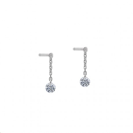 LA BRUNE & LA BLONDE Mini Pendant d'oreilles 360° Or blanc Diamants 0,14 ct EA0027WGDI
