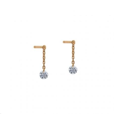 LA BRUNE & LA BLONDE Mini pendants d'oreilles 360° Or rose Diamants 0,14 ct EA0027PGDI