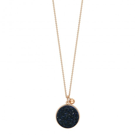 GINETTE NY Collier Ever Disc Or rose Pierre sable bleue EVEB