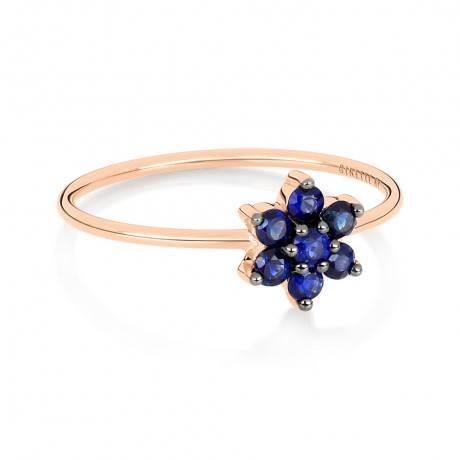 GINETTE NY Bague Star Or rose Saphirs RSS