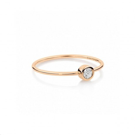 GINETTE NY Bague Lonely Diamond Or rose Diamant RSD003