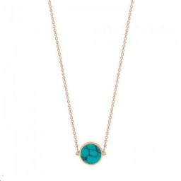 Collier Mini Ever Disc Or rose Turquoise