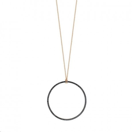 GINETTE NY Collier Mini Black Circle Or rose Diamants CCE003DN