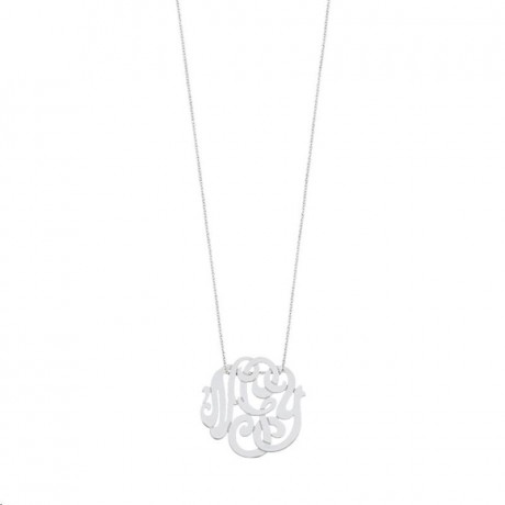 GINETTE NY Collier Baby Lace Monogram Or Blanc CBLM002G
