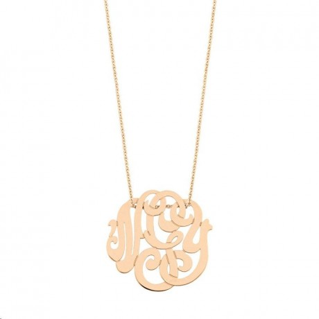GINETTE NY Collier Baby Lace Monogram Or rose CBLM002
