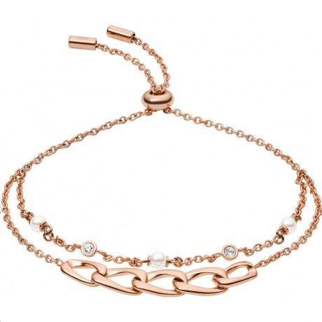 FOSSIL Bracelet double Acier doré rose JF03349791