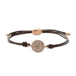 Bracelet Cuir marron Acier doré rose