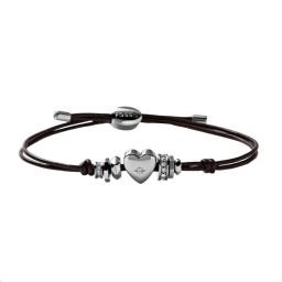 Bracelet coeur Cuir marron Acier
