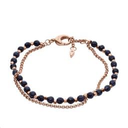 Bracelet Perlé Laiton doré rose Agate noire
