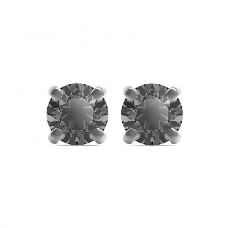 SWAROVSKI Boucles d'oreilles Men's Sleek Métal Noir Cristaux gris 5571555