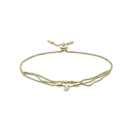 FOSSIL Bracelet Tiny Pearls Acier Doré jaune Perle d'eau douce JF03807710