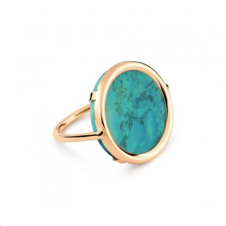 GINETTE NY Bague Disc Or rose Turquoise RFSD