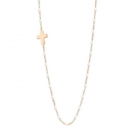 GIGI CLOZEAU Collier Madone croix Or rose Résine blanche B1CO002R0142